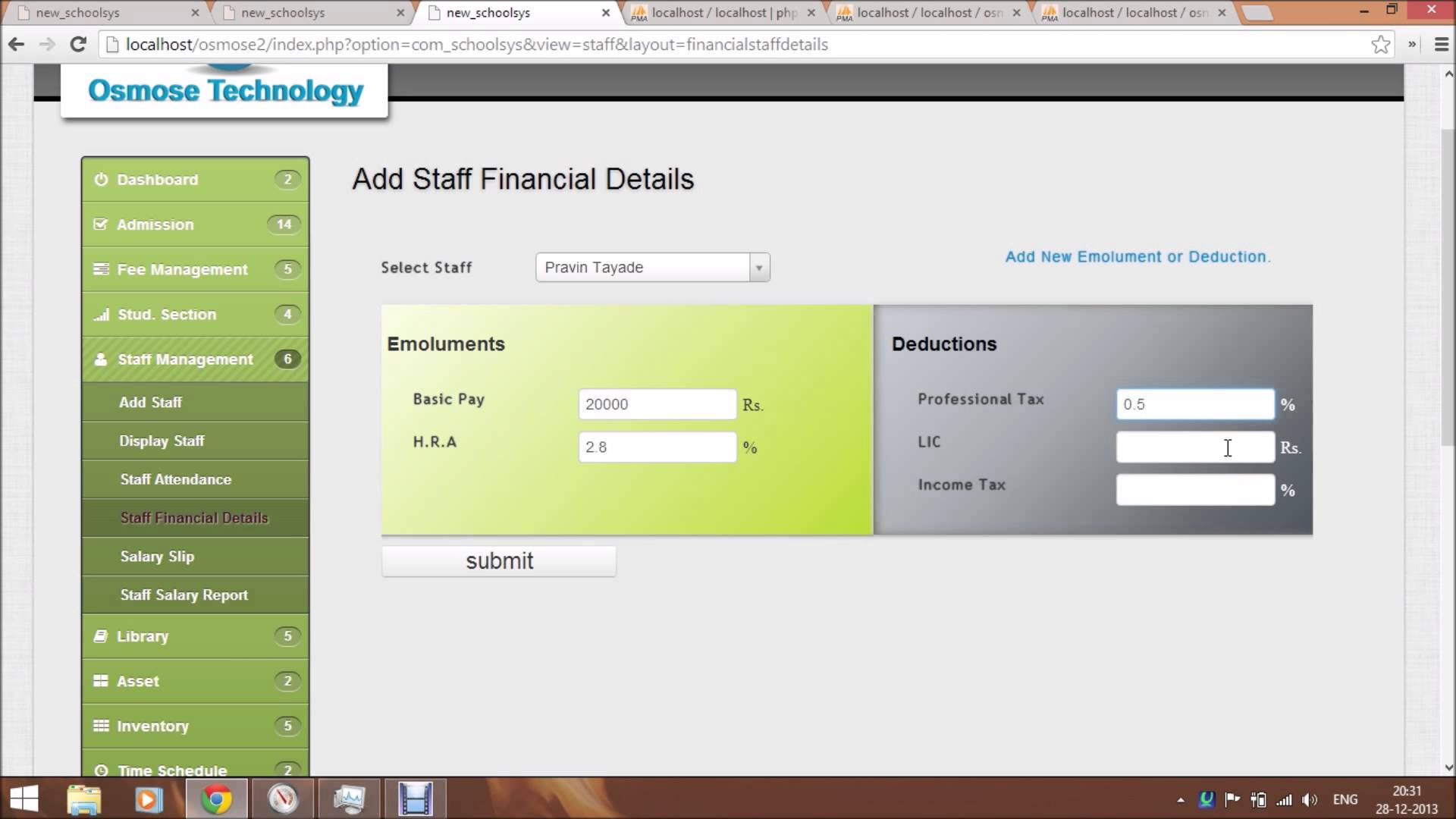 Free download school management system in php