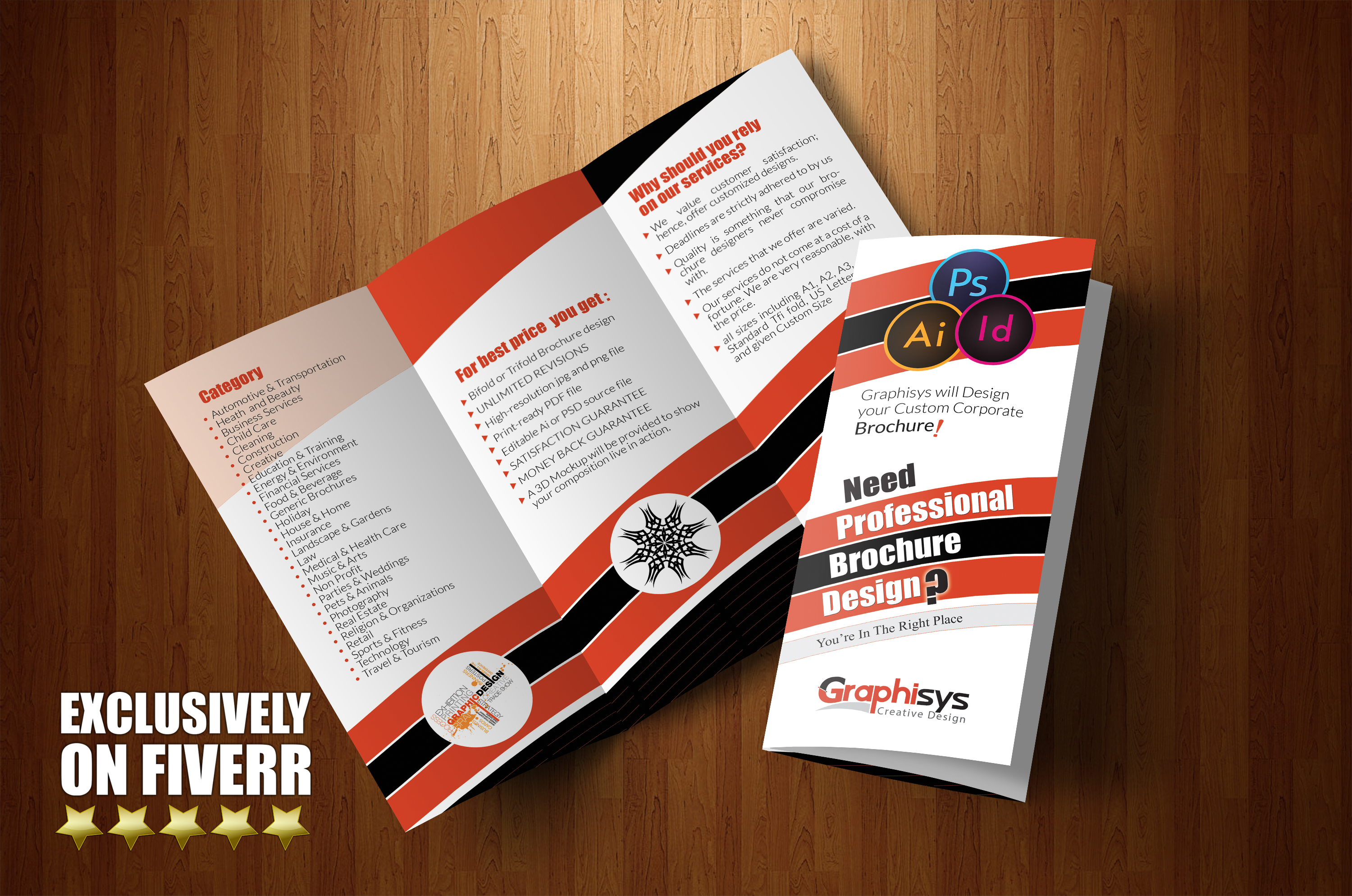 design professional bifold or trifold brochure by graphisys