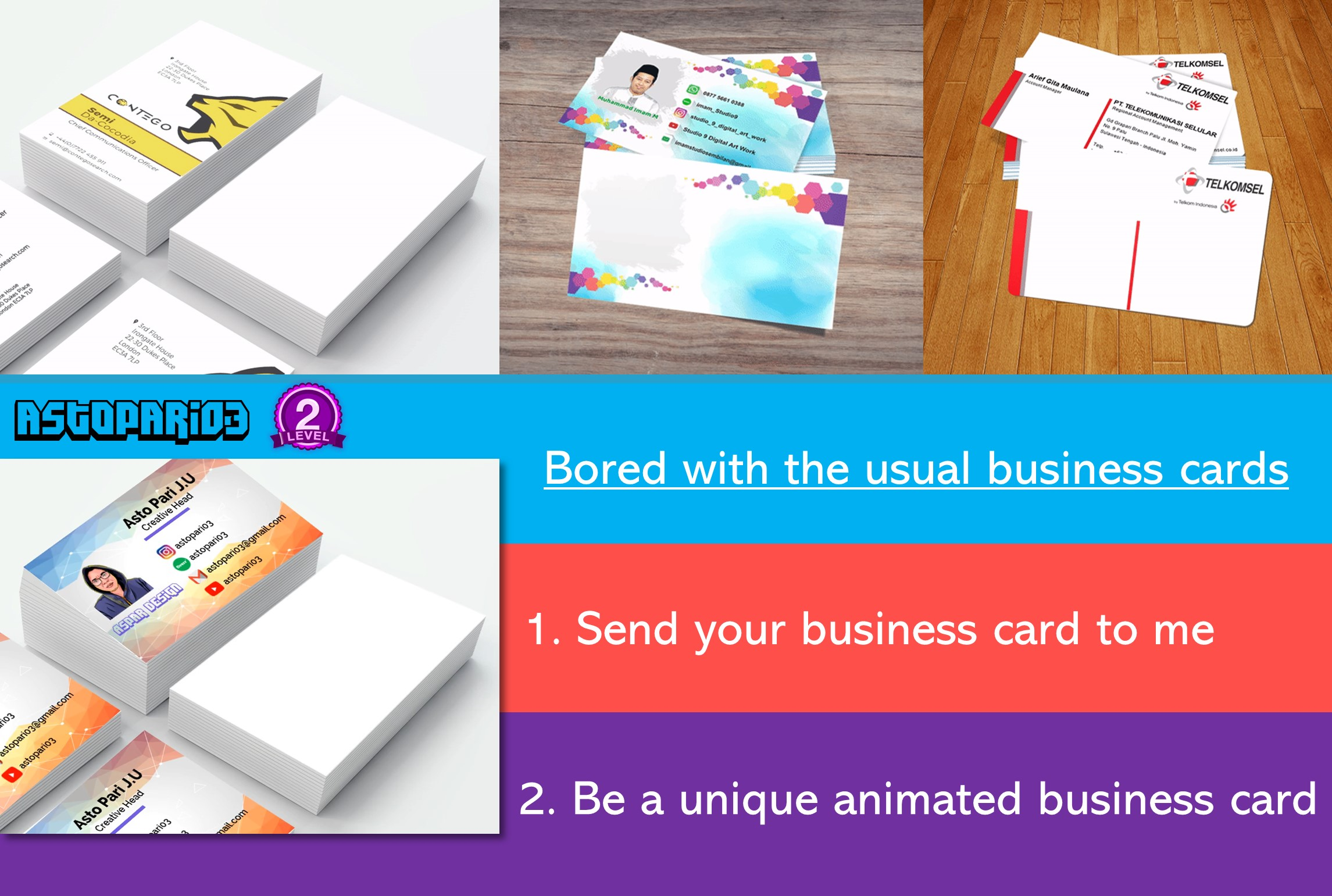 Turn your static business card into unique animation by astopari03 colourmoves