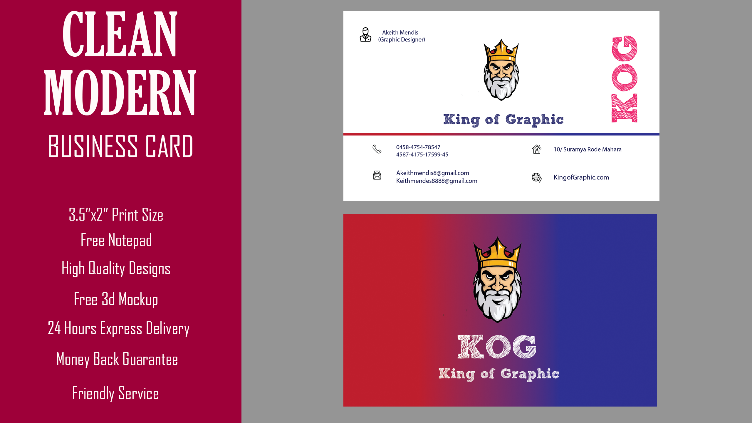 Design 2 clean business card within 24 hrs by Kingofgraphic88