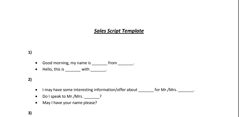 Provide a professional sales script for telemarketing by Stanwhite_sales