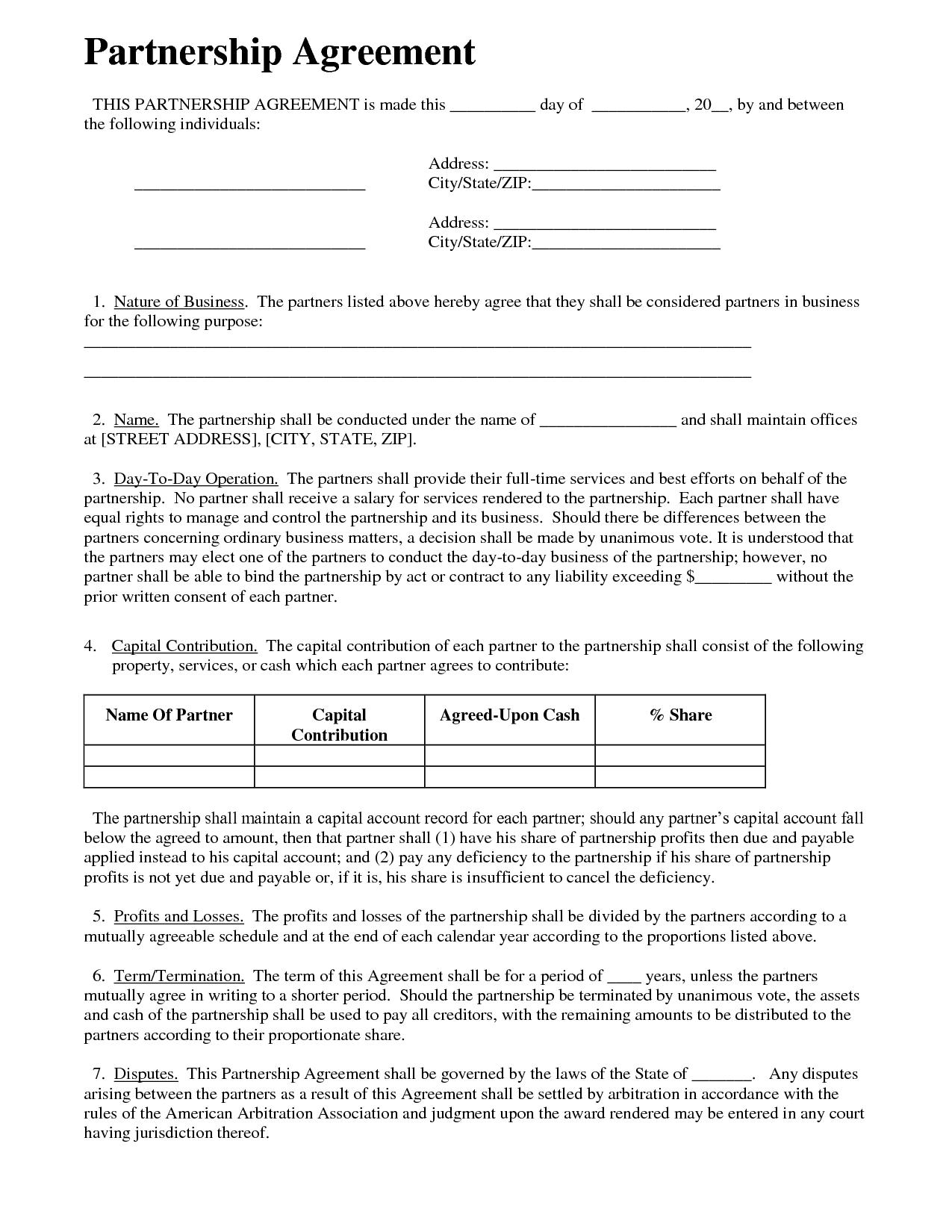 Send A Partnership Agreement By Safwan