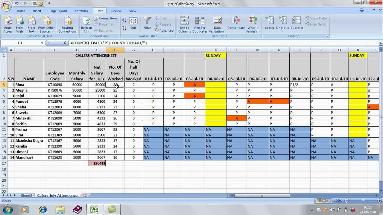 prepare ms excel sheets attendance sheets by naveedmughal598
