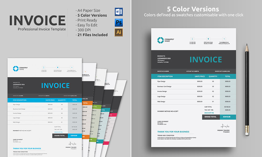 design professional invoice template by creativedevise