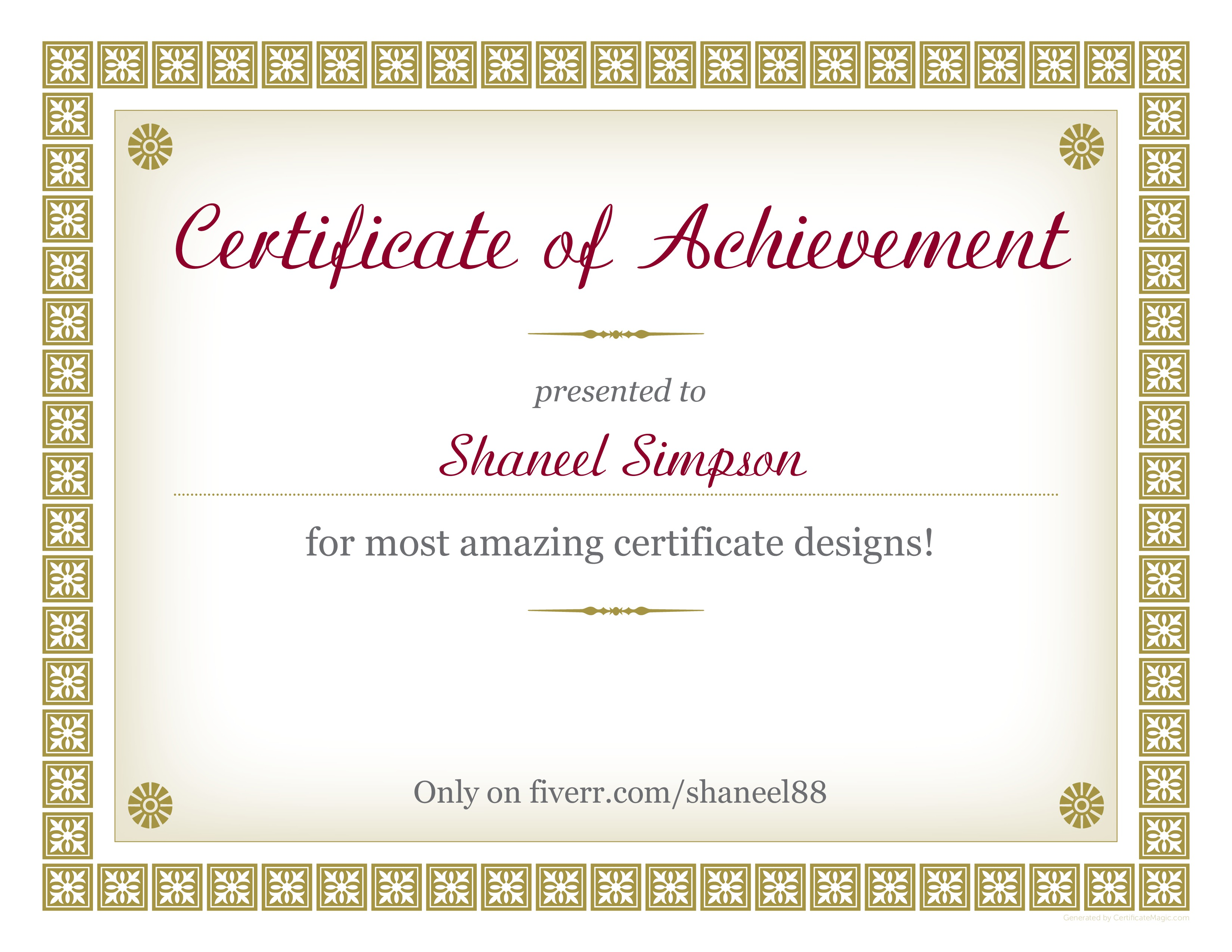 Design Any Certificate Of Your Choice By Shaneel88