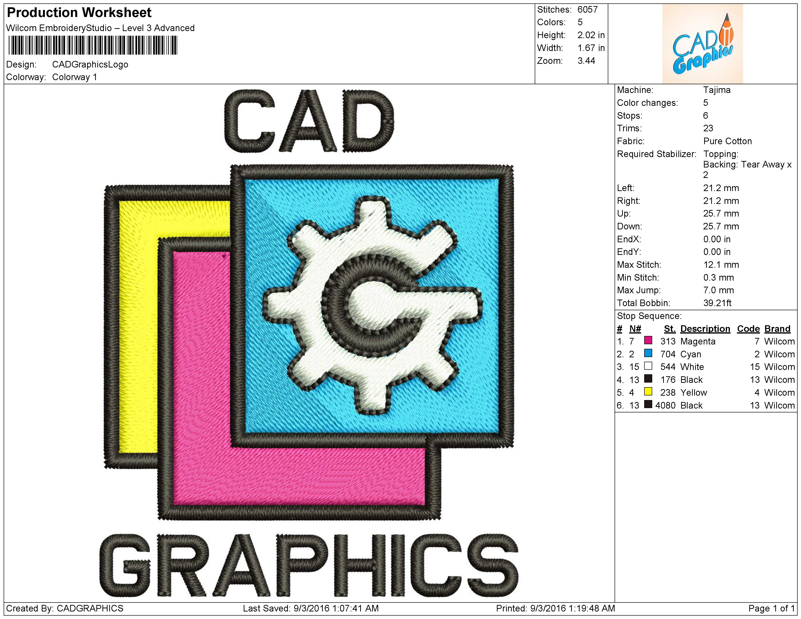 Do embroidery digitizing your logo in dst, emb, pec, pes by Cadgraphics