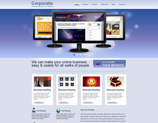Free website templates psd html css.