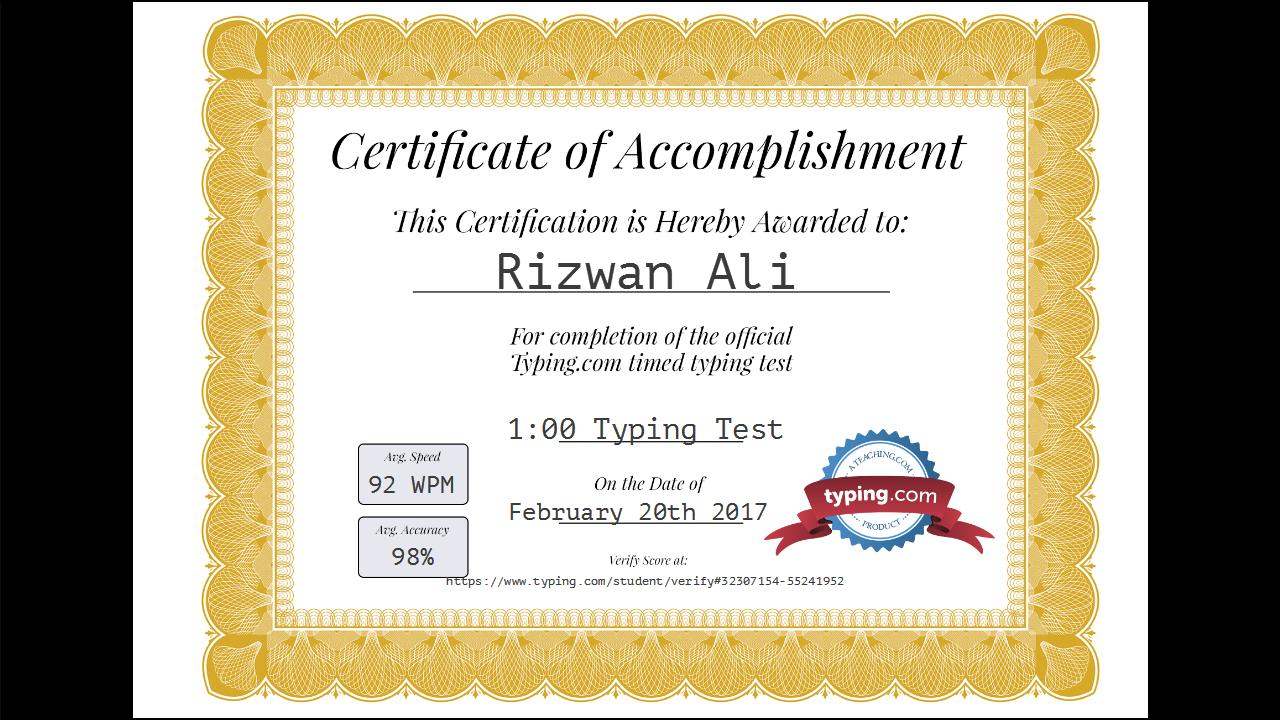 Take Online Typing Test For You 80wpm With Certificate By Rizwanali806